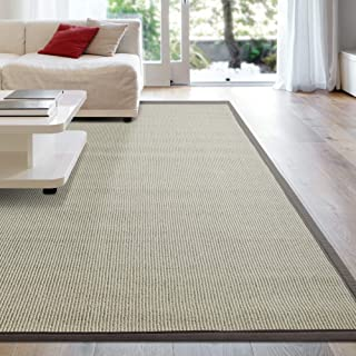 iCustomRug Zara Synthetic Sisal Collection Area Rug and Custom Size Runners, Softer Than Natural Sisal Rug, Stain Resistant & Easy to Clean Beautiful Border Rug 5' X 7' in Brown