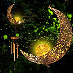 Solar Wind Chimes Outdoor Light - Hanging Moon Crackle Glass Ball Warm LED Waterproof Memorial Wind Chimes with Metal Tubes, Unique Sympathy Gift for Mom Women, Musical Decor for Garden Yard Porch