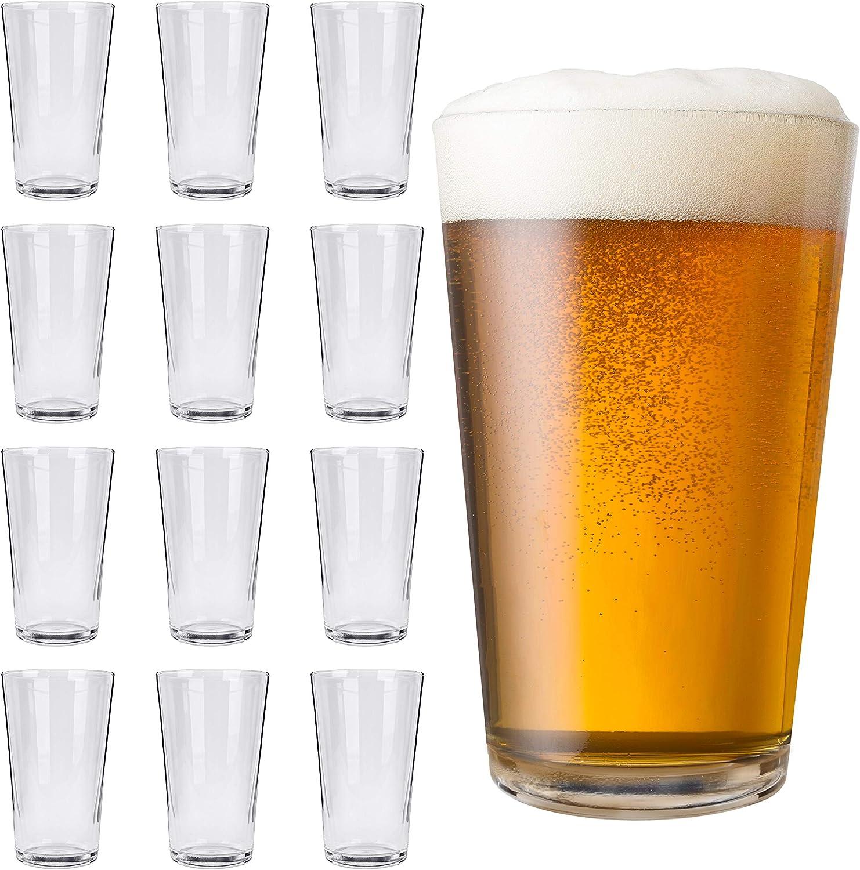 12 Pint Pub Beer Glasses, 16 oz Mixing Glass