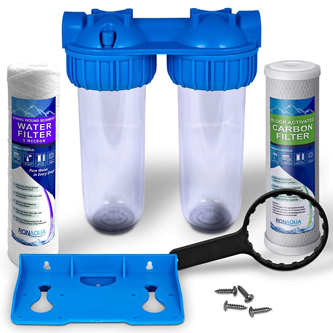 Dual Whole House Water Filter Purifier (Carbon Block and Wound String Sediment Filters)