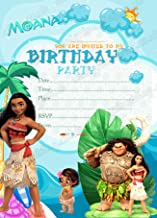 Invitaciones para fiesta de cumpleaños infantil, con temática de Moana de Disney, 8 tarjetas de papel grueso con sobre , 8