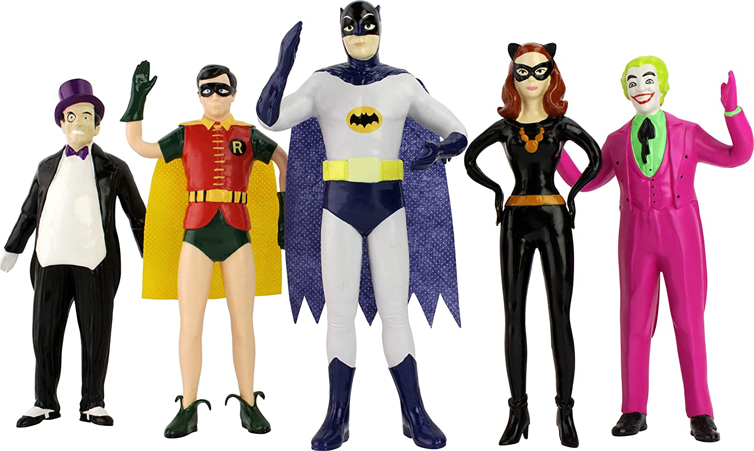 Batman Figure Classic tv Series Set of Five, Includes The Penguin, Batman, cat Woman, and The Joker, Actual Size Over 7  Tall, Outstanding Window Box Gift Packaging.