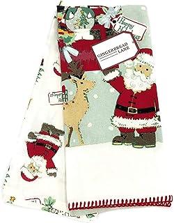 Gingerbread Lane Happy Holidays Santa Claus & Reindeer Decorative Kitchen Towel Set