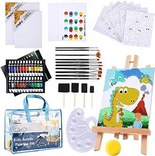 Paint Set For Kids, Ohuhu 55pcs Kids Art Set Paint Easel Includes 24 Non Toxic Acrylic Paints, Table Top Easel, 10 Paint B...