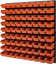 Wandrek stapelboxen - 772 x 780 mm - 81 stuks boxen werkplaats opslagsysteem lade plank (oranje)