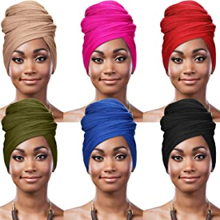 6 Pieces Stretch Head Wraps Scarf Women African Turban Long Hair Scarf Soft Hair Band Tie Head Scarves for Women, 6 Colors...