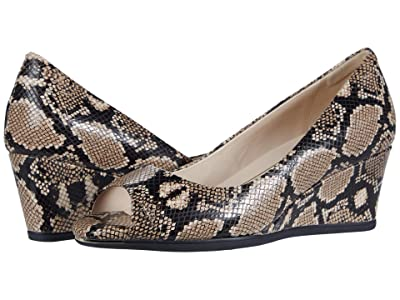 Cole Haan Grand Ambition Open Toe Wedge (55 mm) (Amphora Exotic Snake Print Leather/Black) Women