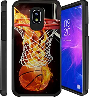 Untouchble| Case for Samsung Galaxy J7 Aero, J7 Crown, J7 Aura, J7 Refine, J7 Eon, J7 2018 Cover [Shock Bumper] Combat Shockproof Two Layer Cover - Basketball Fire