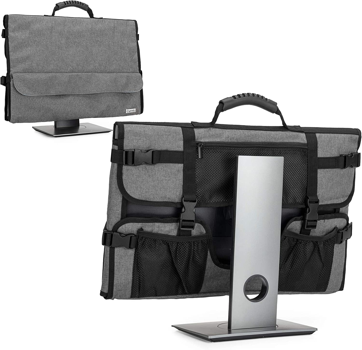 CURMIO Computer Monitor Carrying Case for 24 Inch Monitor, Computer Screen Dust Cover with Rubber Handle and Pockets, Gray (Patented Design)