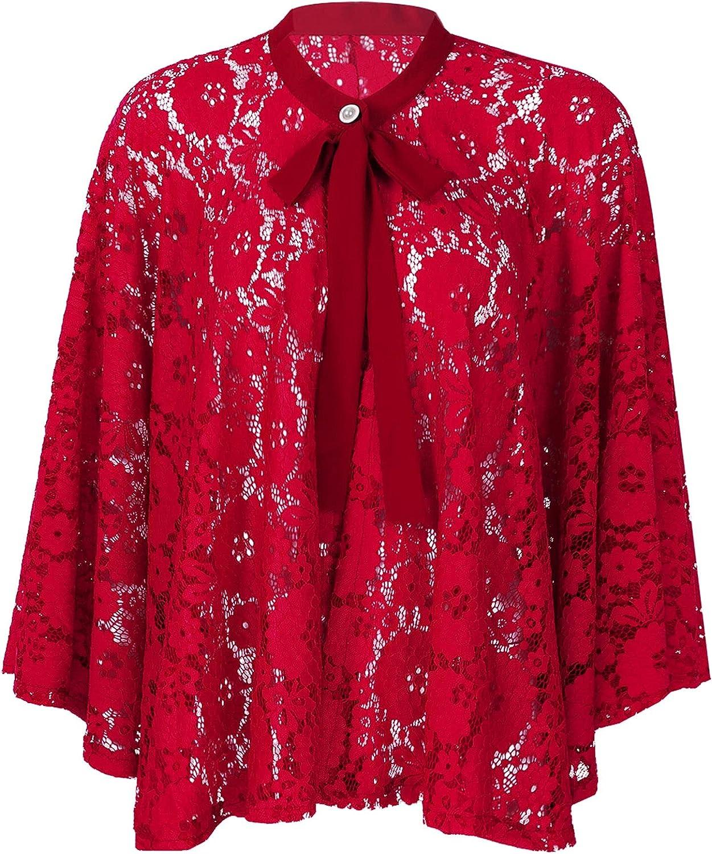 Haitryli Women Elegant Floral Lace Bolero Shrug Evening Wedding Party Wrap Top Shoulder Cape