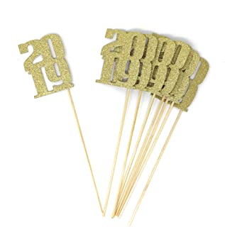 PaperGala 8 pack of Gold 2019 Centerpiece Sticks for DIY Graduation and New Years Decor (Gold)