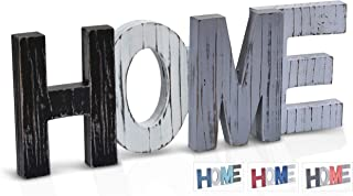 SilverMoon Market Home Signs Wall Decor Wooden Words | Farm House Decorations for Living Room, Fireplace Mantel Decor, Shelf & Coffee Table Gift Ideas for Housewarming (Gray Black)