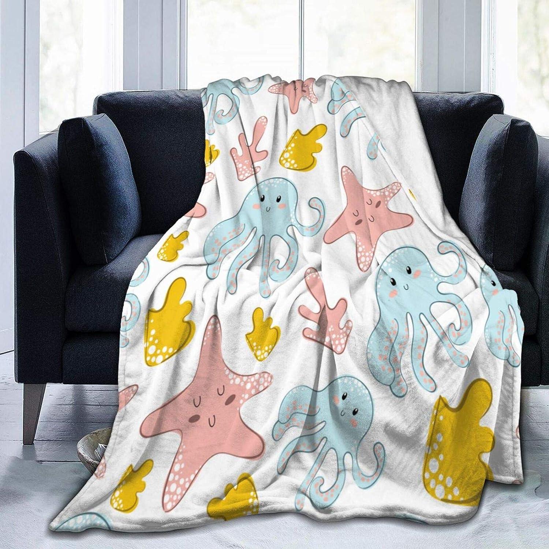 Ultra-Soft Micro Fleece Blanket Cartoon Daily bargain sale Co Cute San Francisco Mall Starfish Octopus