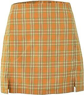 Abeaicoc Womens Loose Casual Bodycon Casual High Split Plaid Waisted Mini Skirts