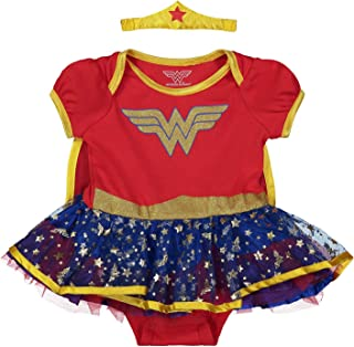 Warner Bros. DC Comics Wonder Woman Baby Mädchen Kostüm Body Kleid mit Tiara Stirnband & Cape, Gold 0-3 Monate