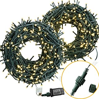 COSFLY Outdoor Christmas String Lights 209 ft 600 LEDs, Warm White Light