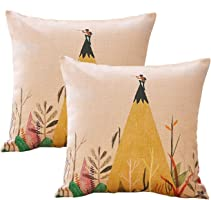 sykting Decorative Pillow Covers Couch Pillow Cases 18 x 18 Set of 2 Cotton Linen Cushion Covers