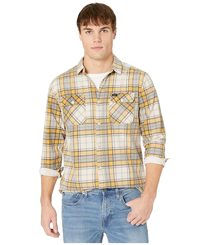 RVCA  Panhandle Long Sleeve Flannel (Golden Yellow) Mens Clothing
