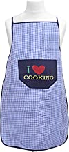 Kuber Industries Checkered Design Cotton Waterproof Apron with Front Pocket (Blue), CTKTC013716