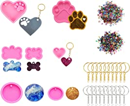 7Pcs Silicone Resin Mold Set,Dog Bone Shaped Keychain Mold,Heart, Round,Paw and Paw with Heart Print for DIY Bag Tag, Cand...