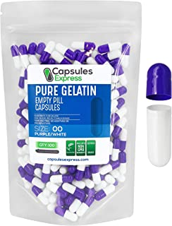 Capsules Express- Size 00 Purple and White Empty Gelatin Capsules 100 Count- Kosher and Halal - Pure Gelatin Pill Capsule ...