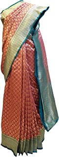 Red & Sea Green (Rama Green) Designer Bridal Hand Weaven Pure Benarasi Zari Work Saree Sari With Blouse AZSAC403