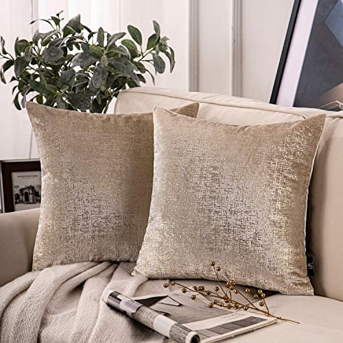 lowest Phantoscope Pack of 2 Bronzing Velvet Decorative Throw Pillow Covers Soft Solid new arrival Square Throw Pillow Covers Cushion Cover Pillowcase for Couch Bed 2021 and Chair, Beige 20 x 20 inches 50 x 50 cm sale