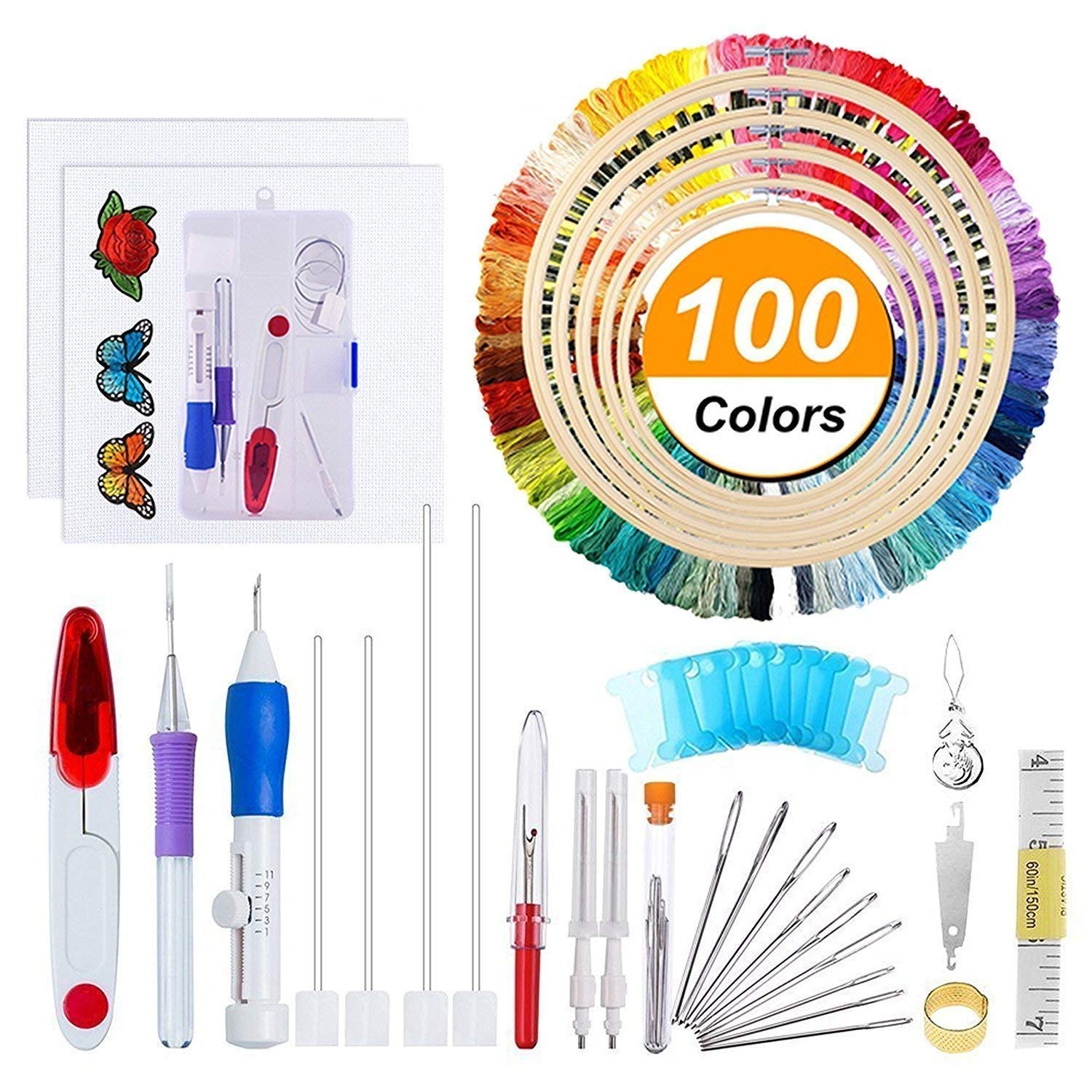 AROYEL New Magic Embroidery Pen Punch Needle Embroidery Patterns Punch Needle Kit Craft Tool Including 50 Color Threads and Cross Stitch Tool Kit for DIY Threaders Sewing Knitting