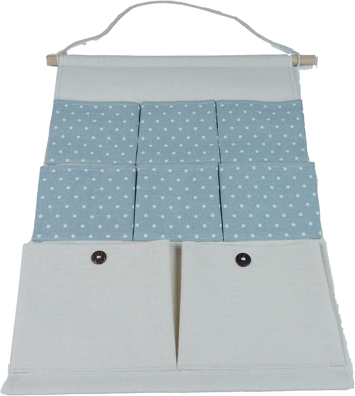 Hilivre Polka Dot Cotton Linen 8 Pocket Hanging Organiser Blue