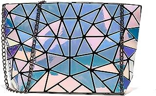 Geometric Purse Holographic Luminous Chain Crossbody Bag Clutch Purses for Women Handbag
