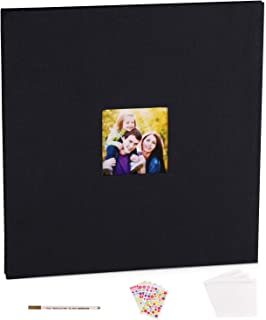 VACNITE Extra Size Photo Album Self Adhesive,Scrapbook Album for Wedding/Family, Linen Cover DIY Gift Magnetic Photo Book with 40 Sticky Pages Holds 10X12, 8X10, 6X8, 5X7, 4X6