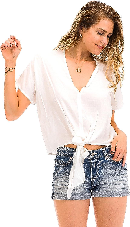 Malibu Days V Neck Short Sleeve Tie Front Blouse Woven Summer Top