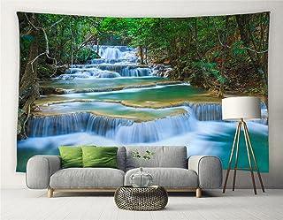 Waterfall Tapestry Tropical Forest Thailand Kanjanaburi Rainforest Trees Jungle Green Plants Nature Scenery Vacation Parad...