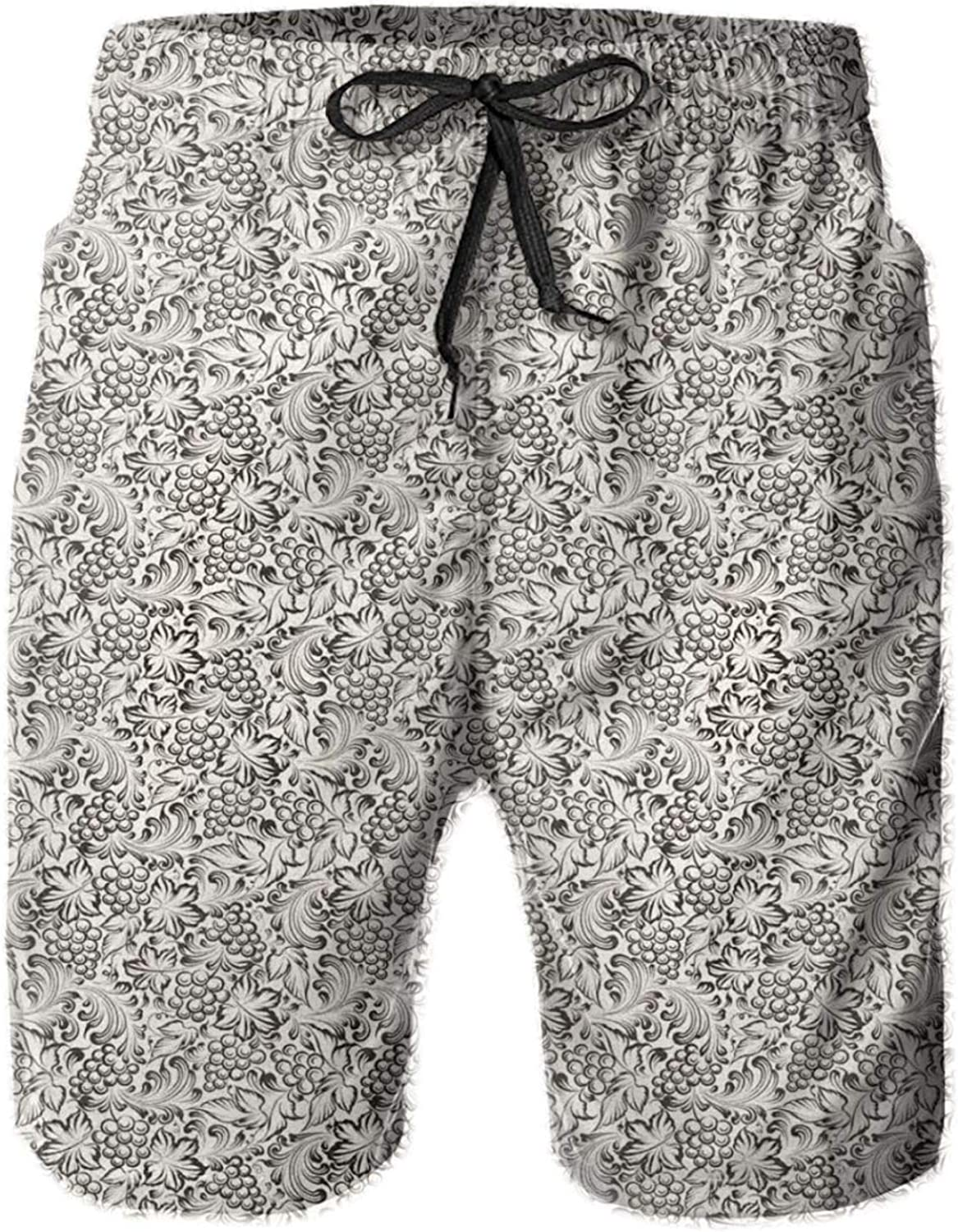 Artistic Hand-Drawn Grapevine Pattern with Bulky Leaves Digital Image Mens Swim Trucks Shorts with Mesh Lining,M