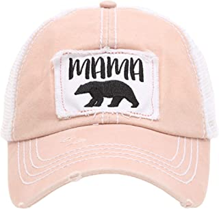 Women's Baseball Caps Distressed Vintage Patch Washed Cotton Low Profile Embroidered Mesh Snapback Trucker Hat