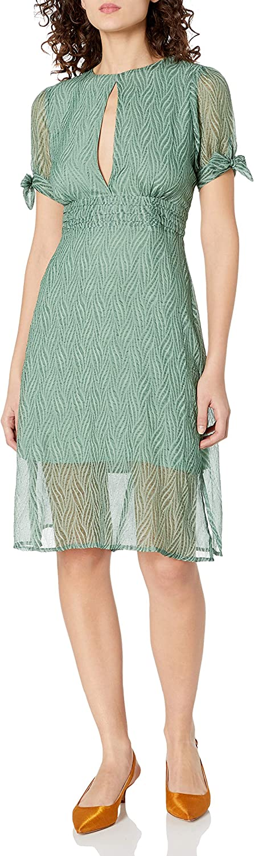J.O.A. Women's Tie Sleeve A-line Midi Dress