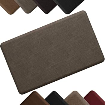 """NewLife by GelPro Anti-Fatigue Designer Comfort Kitchen Floor Mat Stain Resistant Surface with 5/8"""" thick ergo-foam core for health and wellness 18x30 Grasscloth Pecan"""