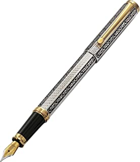 Xezo Legionnaire 18-Karat Gold, Platinum Plated MEDIUM-Point Fountain Pen, Art Nouveau Style, Diamond-Cut and Finely Hand-Etched (Legionnaire F-1)