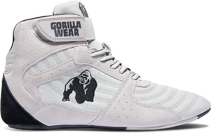Scarpe palestra - scarpe bodybuilding - gorilla wear perry high tops pro - bianco grigio unisex 9000710005