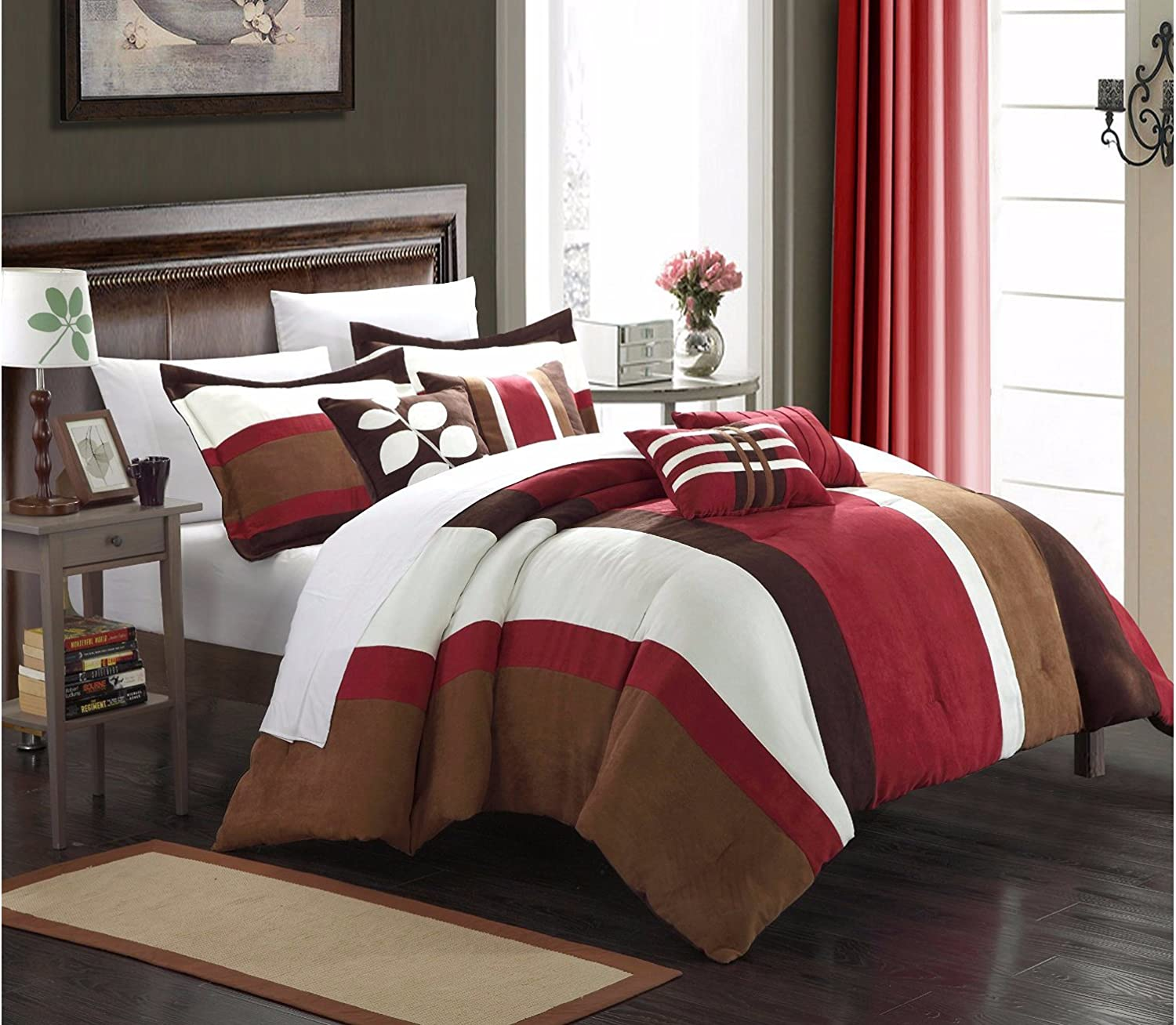 Chic Home 7 Piece Highland Plush Micro Suede Striped Comforter Set Queen Blue Home Kitchen