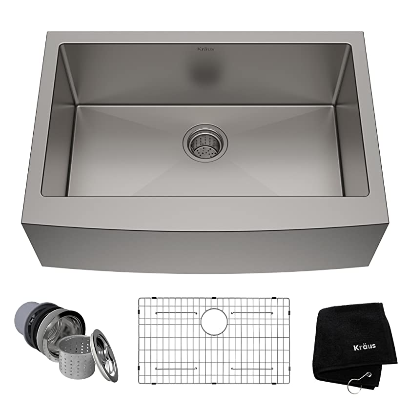 Kraus KHF200-30 Standart PRO Kitchen Stainless Steel Sink, 30 Inch, Round Apron Single Bowl