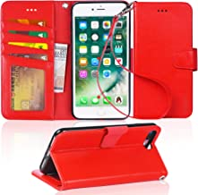 Arae Case for iPhone 7 Plus/iPhone 8 Plus, Premium PU Leather Wallet Case with Kickstand and Flip Cover for iPhone 7 Plus (2016) / iPhone 8 Plus (2017) 5.5 inch - Light red