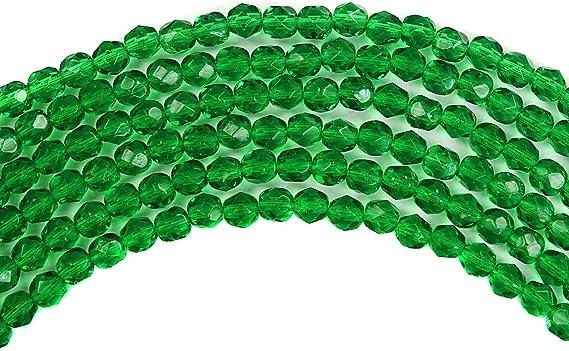 30 Cuentas Bohemia Tops de Cristal 6mm Verde Esmeralda