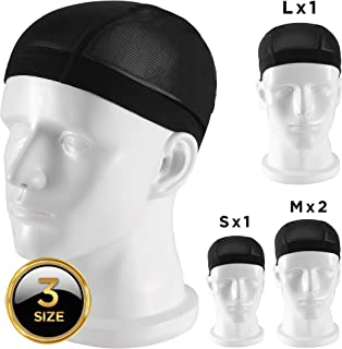 ORASANT Wig Cap, 3-Size 4-Pack Professional Anti-Slip Mesh Wig Caps, Durable and Comfortable Black Wig Caps for Women, Men, Kids Long Hair and Short Hair, for Costumes, Fancy Ball, Ice Hockey etc