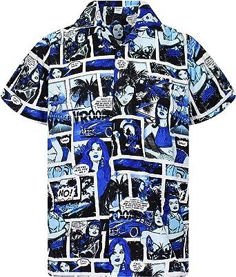 King Kameha Original Camisa Hawaiana | Caballeros |XS - 6XL | Manga Corta | Bolsillo Delantero | Estampado Hawaiano | Cómic