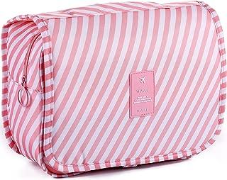 LAKIBOLE Toiletry Bag Multifunction Cosmetic Bag Portable Makeup Pouch Waterproof Travel Hanging Organizer Bag for Women Girls (Pink White)