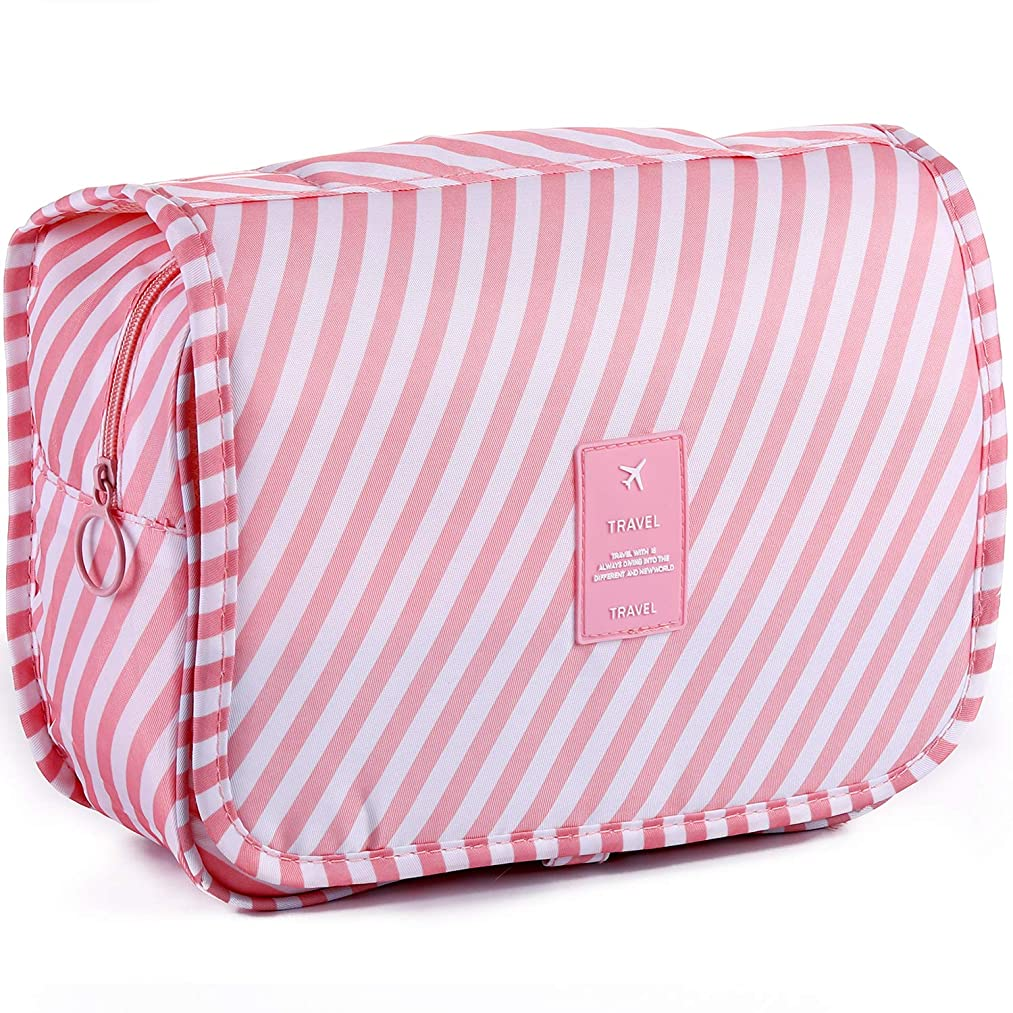 LAKIBOLE Toiletry Bag Multifunction Cosmetic Bag Portable Makeup Pouch Waterproof Travel Hanging Organizer Bag for Women Girls (Pink White)