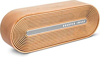 SHARPER IMAGE Retro Wireless Speaker, Sync to Smartphone or Tablet with Bluetooth, Stream for up to 10 Hours per Charge, Rechargeable, Aux in, Micro SD Card Compatible, Mid-Century Oval Wood Design