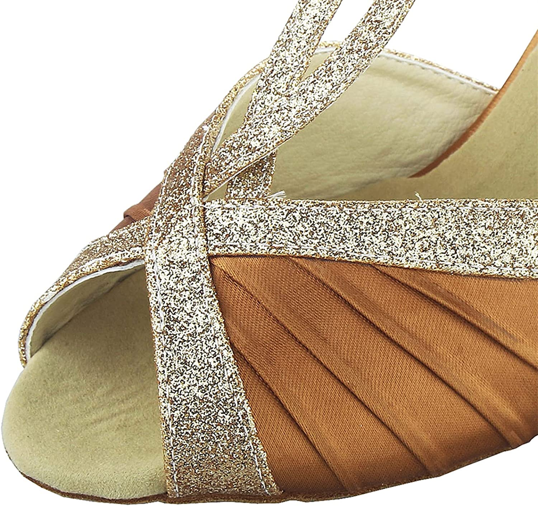 JIAJIA Y20519 Women's Satin Sandals Flared Heel Latin Salsa Performance Dance Shoes