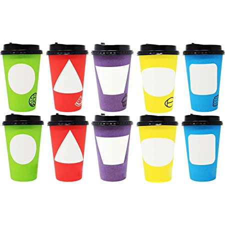 Youngever 70 Sets Hot Coffee Cups Durable Paper Cups with Travel Lids, 12 Ounce Disposable Cups For To Go Travel Mug Office Party Favor